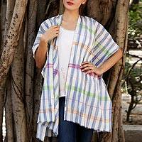 Cotton jacket, 'Beach Beauty' - Hand Woven Multicolor Cotton Coverup from India