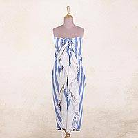 Cotton sarong, 'Beach Day in Cornflower' - Hand Woven Blue and White Striped Cotton Sarong from India