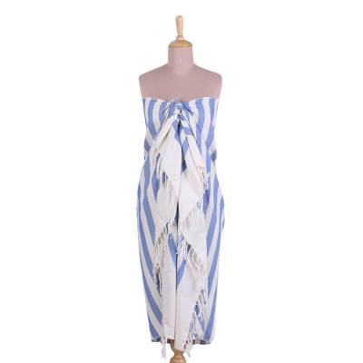 Hand Woven Blue and White Striped Cotton Sarong from India