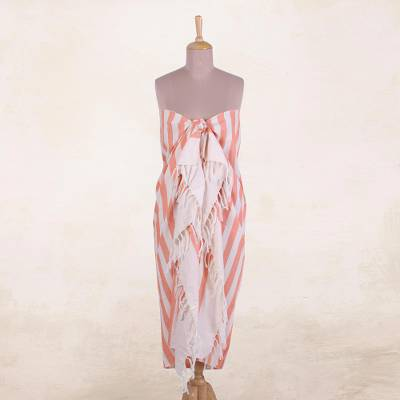Cotton sarong, 'Beach Day in Melon' - Hand Woven Orange and White Striped Cotton Sarong from India