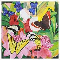 'Butterfly Symphony' - Signed Naif Painting of Butterflies and Flowers from India