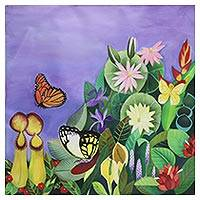 'Butterflies in Winter Sonata' - Signed Naif Painting of Butterflies and Flowers from India