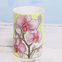 Decoupage porcelain vase, 'Orchid Ecstasy' - Decoupage Porcelain Orchid Design Vase from India