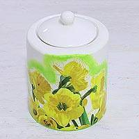 Decoupage porcelain jar, 'Sunny Brilliance' - Decoupage Porcelain Jar with Yellow Flowers from India