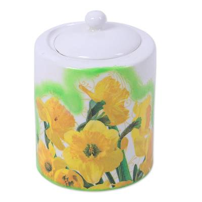 Decoupage Porcelain Jar with Yellow Flowers from India