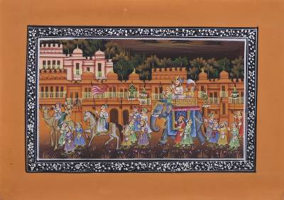 Indian Miniature Painting on Tangerine Orange Silk