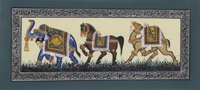Mughal Miniature Elephant - Horse - Camel Painting on Silk
