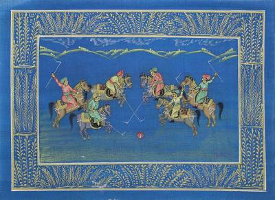 Signed Blue Miniature Painting of a Polo Game in India