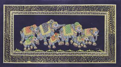 Indian Elephant Theme Miniature Painting on Blue Silk