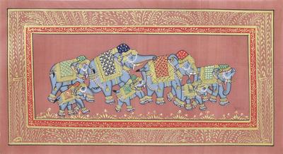 Indian Elephant Theme Miniature Painting on Nutmeg Silk