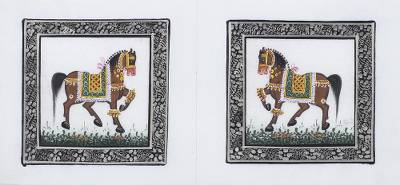 Handcrafted Miniature Painting of Two Horses on 100% Silk