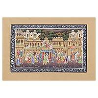 Miniature painting, 'Majestic Parade' - Miniature Silk Portrait of a Royal Mughal Parade at Sunset