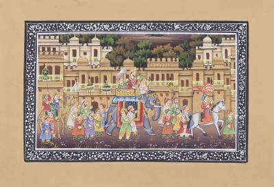 Miniature Silk Portrait of a Royal Mughal Parade at Sunset