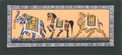Indian Miniature Painting of Royal Animals on Silk