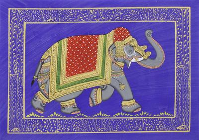 Royal Mughal Elephant on Blue Indian Miniature Painting