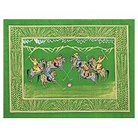 Miniature painting, 'Polo on the Lawn' - Indian Polo Game Theme Signed Miniature Painting on Silk
