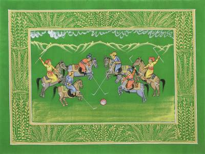 Indian Polo Game Theme Signed Miniature Painting on Silk