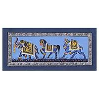 Miniature painting, 'Blue Majestic Steeds' - India Traditional Art Animal Theme Blue Miniature Painting