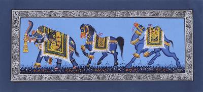 India Traditional Art Animal Theme Blue Miniature Painting