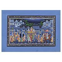 Miniature painting, 'Majestic Harmony' - Blue Night Miniature Painting of an Indian Mughal Court