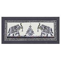 Miniature painting, 'Grey Elephants Praise Ganesha' - Miniature Silk Portrait of Ganesha with Grey Royal Elephants