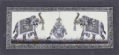 Miniature Silk Portrait of Ganesha with Grey Royal Elephants
