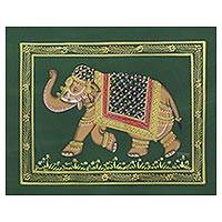 Miniature painting, 'Green Majestic Elephant' - Green Royal Indian Elephant Signed Silk Miniature Painting