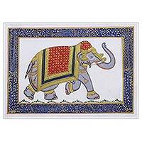 Miniature painting, 'White Majestic Elephant' - Elephant Theme Signed India Miniature Folk Painting on Silk