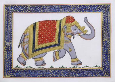 Elephant Theme Signed India Miniature Folk Painting on Silk