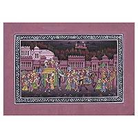 Miniature painting, 'Majestic Bliss' - Indian Miniature Painting on Silk in Cashmere Rose Tones