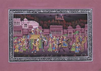 Indian Miniature Painting on Silk in Cashmere Rose Tones
