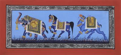 India Miniature Folk Painting on Silk in Shades of Blue