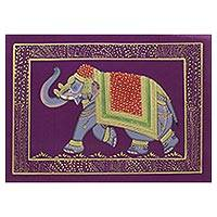 Miniature painting, 'Purple Majestic Elephant' - Traditional Indian Elephant Theme Purple Miniature Painting