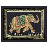 Miniature painting, 'Midnight Majestic Elephant' - Vintage Style Indian Mughal Elephant Painting on Black Silk