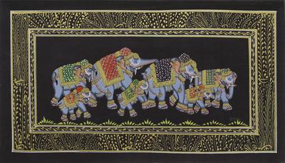 Elephant Theme Mughal Indian Miniature Painting on Silk