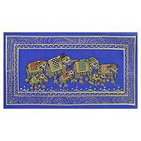 Miniature painting, 'Blue Royal Elephant Herd' - Blue Silk Elephant Folk Art Miniature Painting from India