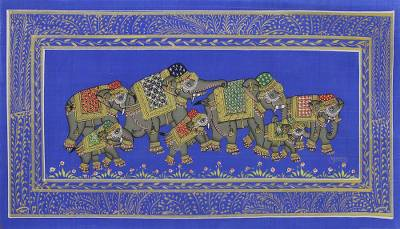 Blue Silk Elephant Folk Art Miniature Painting from India