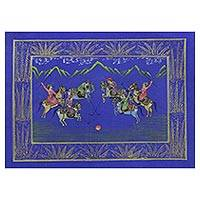 Miniature painting, 'Polo on Blue' - Blue Silk Polo Theme Signed Miniature Painting from India