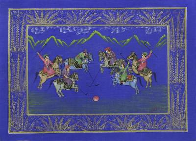Blue Silk Polo Theme Signed Miniature Painting from India