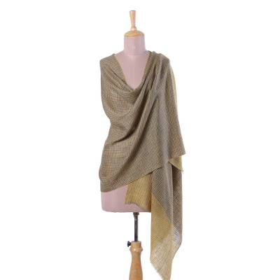 100% cashmere shawl, 'Honeydew' - 100% Cashmere Wool Hand Woven Wrap Shawl in Blue and Honey