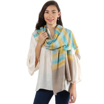 Cashmere shawl, 'Changthang Beauty' - Striped 100% Cashmere Shawl in Maize and Turquoise