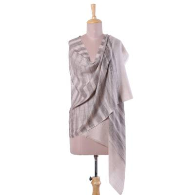 Cashmere shawl, 'Taupe Tiger' - 100% Cashmere Shawl in Taupe and Espresso from India