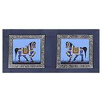 Miniature painting, 'Blue Persian Horses' - Signed Indian Blue Horse Theme Miniature Painting on Silk