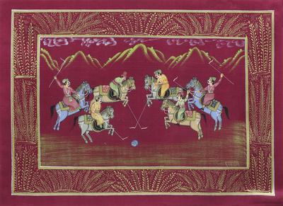 Signed Burgundy Mughal Miniature Folk Painting on Silk
