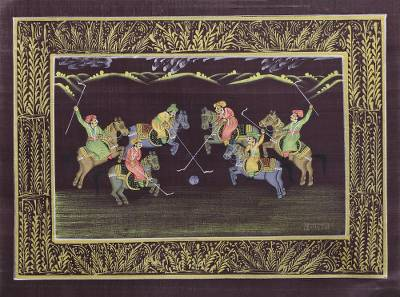 Miniature Silk Portrait of a Polo Game in Old India