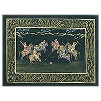 Miniature painting, 'Polo in the Forest' - Indian Polo Theme Miniature Painting on Silk in Forest Green
