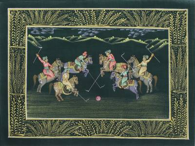 Indian Polo Theme Miniature Painting on Silk in Forest Green