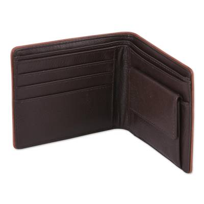 Brown Leather Wallet for Men with Coin Purse Made in India