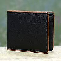 Men's leather wallet, 'Just Right in Ebony' - Black Leather Wallet for Men with Coin Purse Made in India