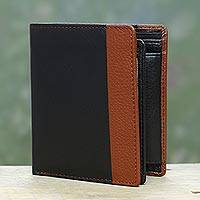Men's leather wallet, 'Symphony in Ebony and Russet' - Ebony and Russet Multipocket Leather Wallet for Men